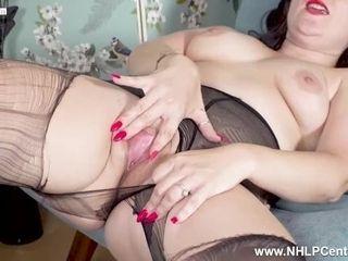 Horny Milf Cherri rips her black pantyhose and masturbates wet pink pussy