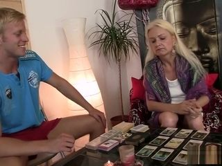 Thin grandma gets her bushy labia smashed