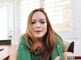Super-naughty ginger-haired cougar stepmother helps a sonnie about future