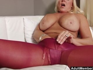 Mature platinum-blonde honey In Nylon And High high-heeled shoes Fetish