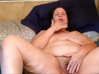 Obese mature hoe finger-tickling her vulva for me
