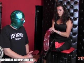 Belt cock Jane predominates her enjoy victim with fresh leather genjoys rigid bootie tear up