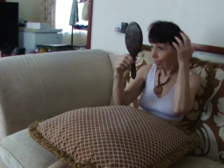Doing My Hair For You In see-through killer boulder-holder, On The sofa With Pillows!