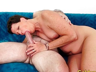 Mature brown-haired Beth McKenna Has Her fur covered beaver spread