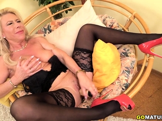 Naughty housewife Sylvie frolicking with her fucktoys