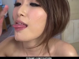 Yume Mizuki gives head to 2 pricks then guzzles - More at Slurpjp com