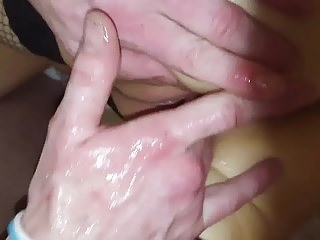 Hotwife gushes at the hand of her lover.....