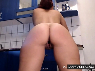 Naked in the kitchen