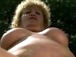 Ugly old bitch gets fucked rough outdoor