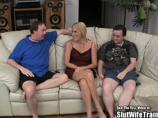 Faux fun bags blondie wifey smashes 2 tramp Trainer spunk-pumps