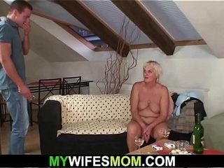 Senior mother-in-law tempts her fellow