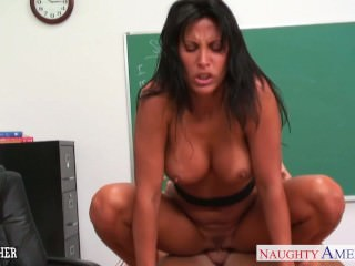 Busty brunette teacher Lezley Zen fuck in classroom