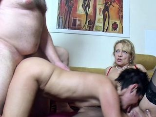 Senior German wifey Suprise hubby with Saggy boobies three way