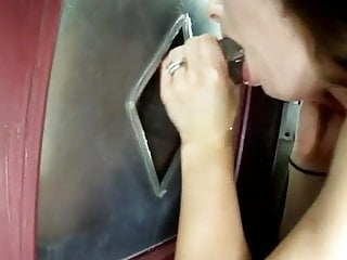 Steamy wifes blows strangers in a glory fuck hole booth