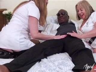 AgedLovE 2 naughty Nurses and enormous dark-hued pink cigar