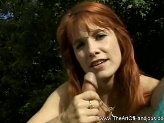 Ideal sandy-haired providing super-sexy hand job with Hubbby