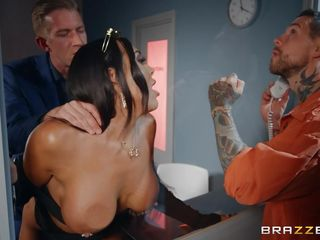Huge-chested dark-haired Gets romped Right In Front Of Her hubby