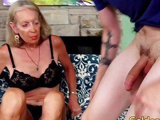 Tall grandma supah luxurious Has Her cock-squeezing butt-hole splayed by a junior boy