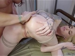 Girl/girl doc probes blondes cock-squeezing donk