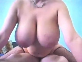 Huge-boobed first-timer dark haired plus-size railing her fucktoy on web webcam