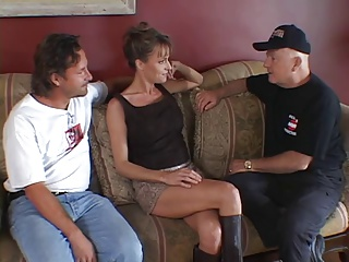 Horny wife gets blindfolded and sucks hard cock then gets fucked
