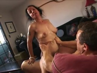 Saggy milf enjoying load of shit