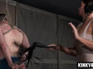 Glorious superstar restrain bondage with pop-shot
