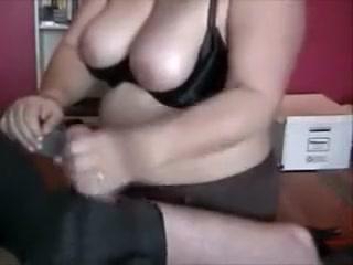Round wifey providing impressive hand job To spouse
