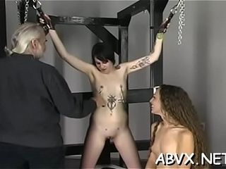 Jiggly female loves individual moments of first-timer restrain bondage