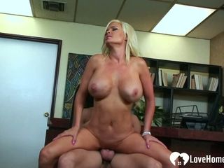 He will accept her open-legs invitation and poke her pussy in hard-core style.