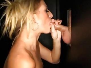 Sex freak Milf loves sucking off strangers in a gloryhole