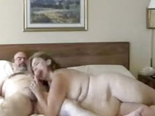 Mature Chubby Wife Blowing Hubby in Hotel Bed