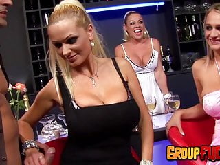 Sex at the pub with trio huge-titted mummies