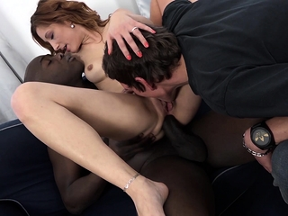 Poking a dark-hued guy while my hubby eats me