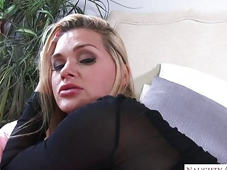 Infatuating blondie cougar in tights beaten ball-sac deep and firm