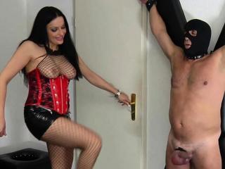German sadism & masochism dominatrix do cock and ball torture kicking balls