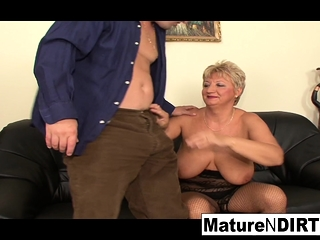 Mature blond needs 2 boners to be pleased