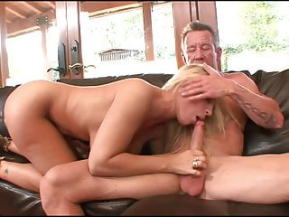 Blondie cougar tugging his manmeat with her cunt