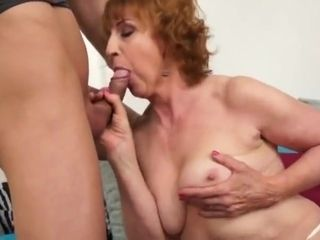 Mischievous grannie gargle and penetrate youthfull dude