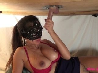 Masturbating jizm from a good-sized pipe at gloryhole table