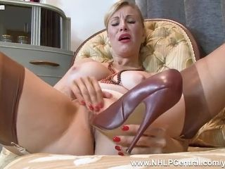 Uber-sexy light-haired Saffy tears up muff with high-heeled slippers in antique nylons and underwear