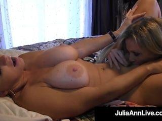Chesty blondie lovelies Julia Ann & Vicky Vette Tongue boink!