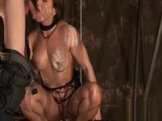 Muscular chick trussed up deep-throating in a bondage & discipline gig