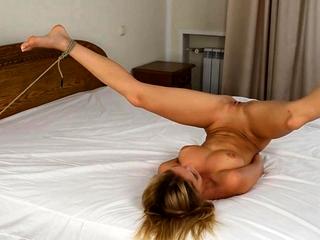 Russian ash-blonde gimp bitch tiedup and penetrated