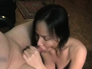 Mature asian with swallows that are husband