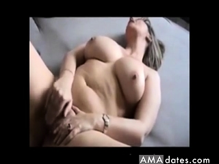 Phat titted wifey wanking for her hubby