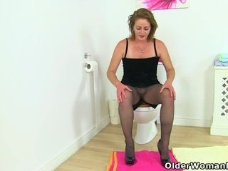 Brit cougar wondrous  Jozie takes off and plays on rest room