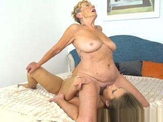 Big-boobed grandma Dyke pleasuring youthfull ultra-cutie