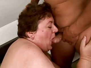 Young guy fucks BBW granny
