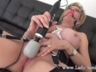 """Lady Sonia is bound and ball-gagged, and makes herself cum"""